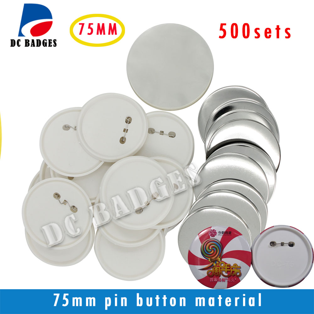3(75mm) 500sets  Plastic Pin Badge Material,Blank button  components wholesale good quality 1 3 4 44mm 1000sets plastic pin badge material blank button parts tin badge components supplier