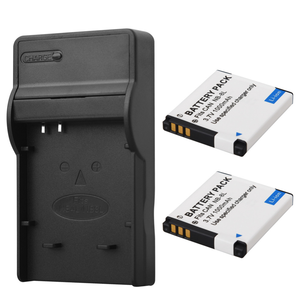 NB-8L NB8L 2x1000 mah + Charger For Canon PowerShot A3300 A3200 A3100 A3000 A2200