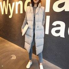 2016 Warm Winter Vests Casual Plus Size Turtleneck Women Long Vests Black/Gray XM42