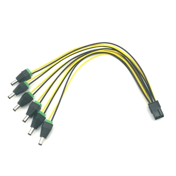PCI-E Express 6Pin to 6pcs DC 5.5X2.5mm Plugs 12V Power Cable for Bitcoin Miner 60cm