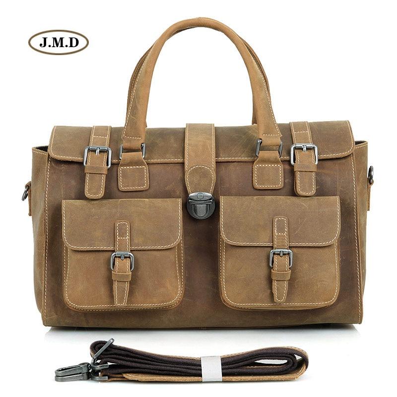 J.M.D 100% Guarantee Genuine Excellent Vintage Leather Durable Handbags Travel Bag Multi-Compartment Design Shoulder Bag 6001 недорго, оригинальная цена