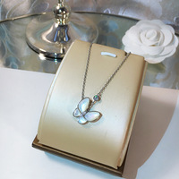 2 Colors High Quality Women Jewelry Natural Shell With Zircon Butterfly Pendant Real 925 Sterling Silver Necklace