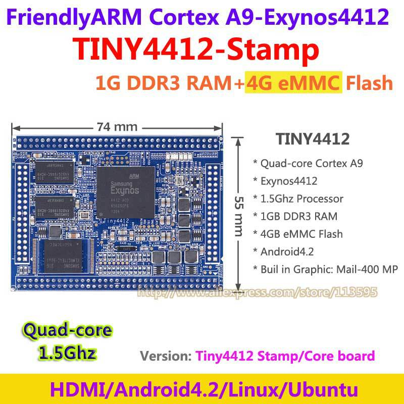 цены  FriendlyARM Exynos Quad core Cortex A9 TINY4412 Stamp Module 1G RAM + 4G Flash Core Board Android 4.2  в интернет-магазинах