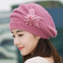 Бини женские зимние шапки для женщин, вязаные шапки для девочек, зимние женские шапки, брендовые шерстяные меховые шапочки с цветочным принтом Skullies Hat