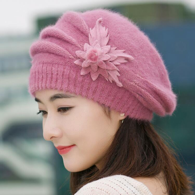 Beanies Women's Winter Hats For Women Knitted Girls Bonnet Caps Winter Lady Hats Brand Wool Fur Beanie Flower Skullies Hat 2018