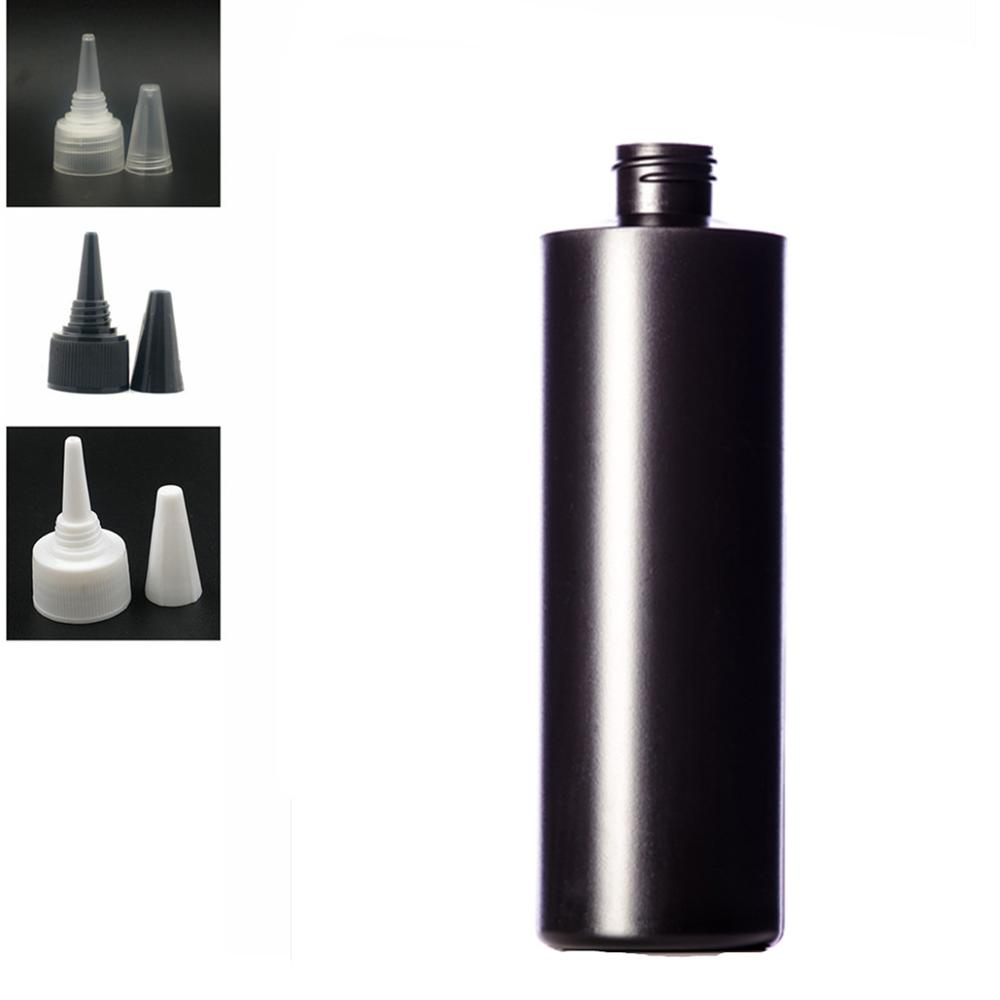 500ml Empty Plastic Bottle , Balck HDPE Cylinder Round With Black/white/transparent Twist Top Caps, Pointed Mouth Top Cap
