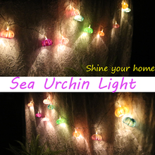 Free Shipping(1pcs/lot)Color Sea Urchin LED Light String Natural Shell Wedding&Christmas Decor Handmade Craft Party Supplies