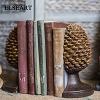 Elseart resin big a pair of pineapple book block book stand bookend for book room decoration