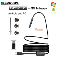 Antscope 8 LED 8mm Lens 720P Android Endoscope Waterproof Inspection Borescope Hard Tube Camera 1 M