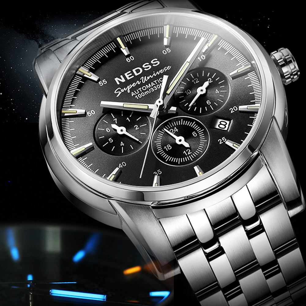 luxury Nedss Swiss H3 tritium Automatic Watch Men reloj hombre Luminous 100M waterproof Male Military Mechanical Wristwatches ultra luxury 2 3 5 modes german motor watch winder white color wooden black pu leater inside automatic watch winder