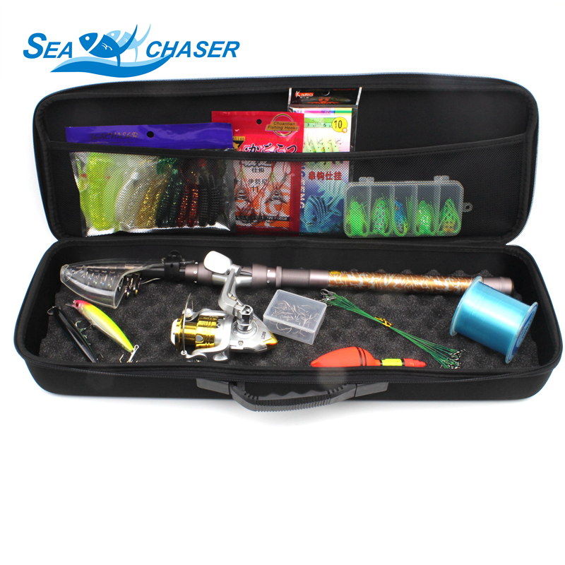 2018 NEW All fishing Telescopic Fishing Rod Reel Combo Full Kit Outdoor Fishing Spinning Reel Pole Set Fish Line Lure Hook Bag outlife outdoor fishing spinning reel rod kit set with fish line lure hook bag