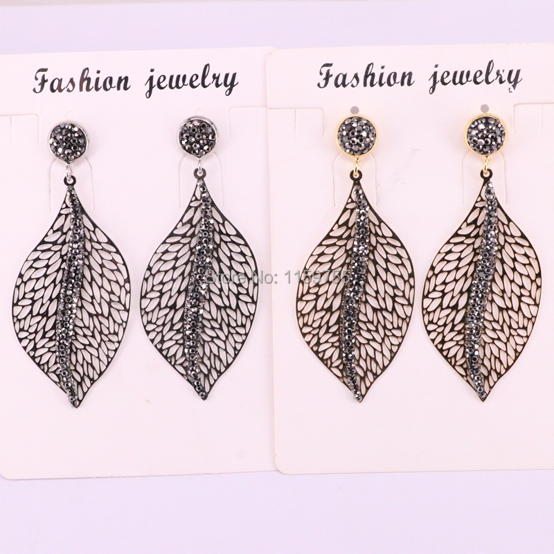 5Pair Hollow Leaf Pave Rhinestone Crystal Golden Silver Metal Drop Earrings For Women Jewelry