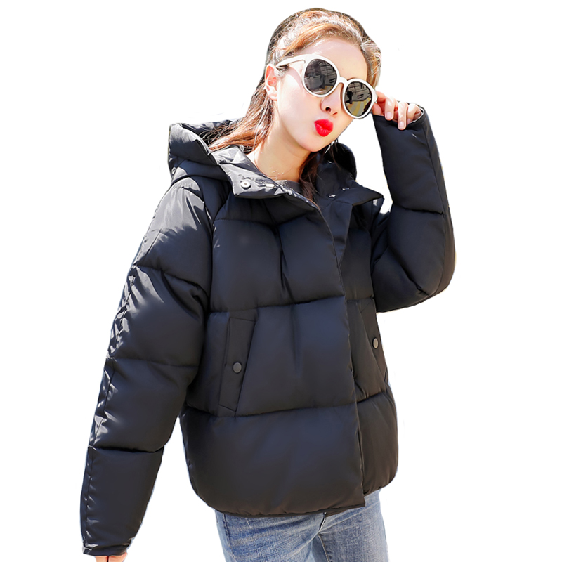 2019 Cotton   Parkas   Solid New Women's Hooded Winter Loose Cotton padded Jacket Winter Jackets Women
