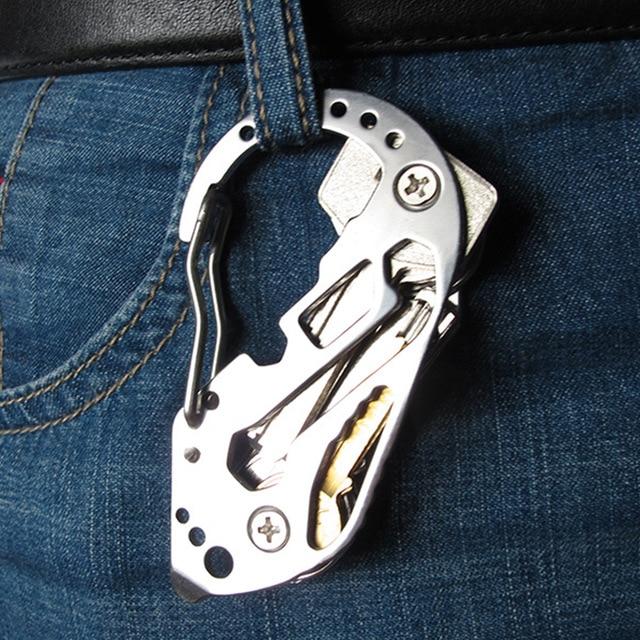 Multi Tool Utility Key Kit EDC Clip  Organizer Holder Stainless Gadget Carabiner Pocket Multifunctional Camp Travel Steel