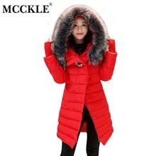 MCCKLE 2017 Winter Women Wool Collar Hooded Jacket Warm Wear Medium-Long Cotton Padded Outerwear Parka Thickening Wadded Jacket