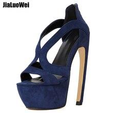 jialuowei 2018 New Women Gladiator Sandals 7 High Heel Strange Style Bend Curve Heels Platform Sexy Open Toe Shoes Size 36-46