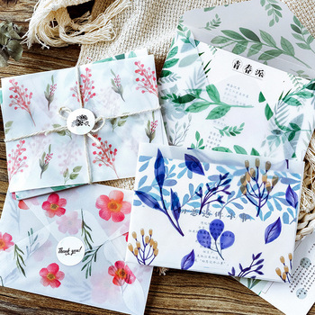 Life is like a dream Four season flowers Translucent paper Envelope Message Card Letter Stationary Storage Paper Gift