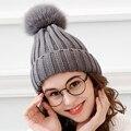 Pompons de vison e pele de raposa bola cap chapéu de inverno para as mulheres gorros cap chapéu de lã de malha de algodão da menina nova marca grosso cap fêmea