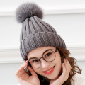 mink and fox fur ball cap pom poms winter hat for women girl's wool hat knitted cotton beanies cap brand new thick female cap