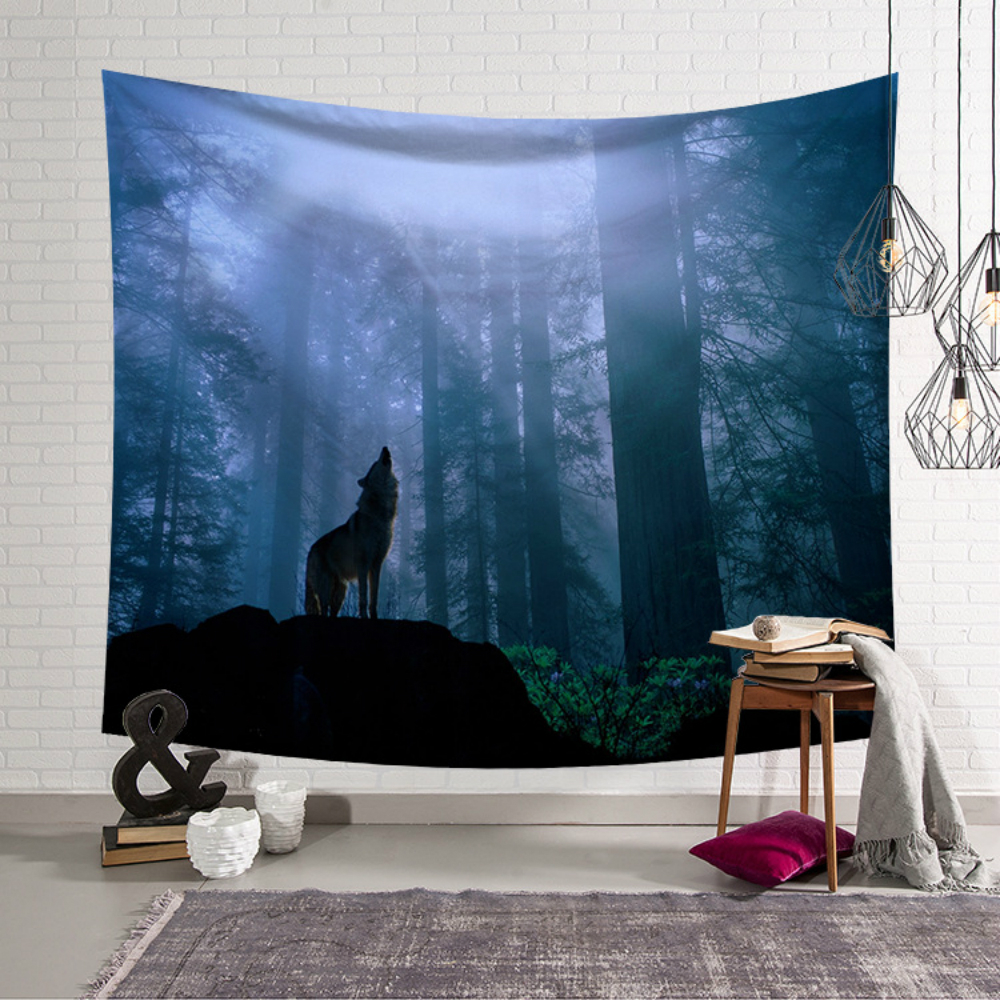 Bohemian Wolf Wall Cloth Tapestries Forest Deer Horse Owl Printed Tapestry 100 Polyester Camping Tent Travel Mattress Blanket in Tapestry from Home Garden