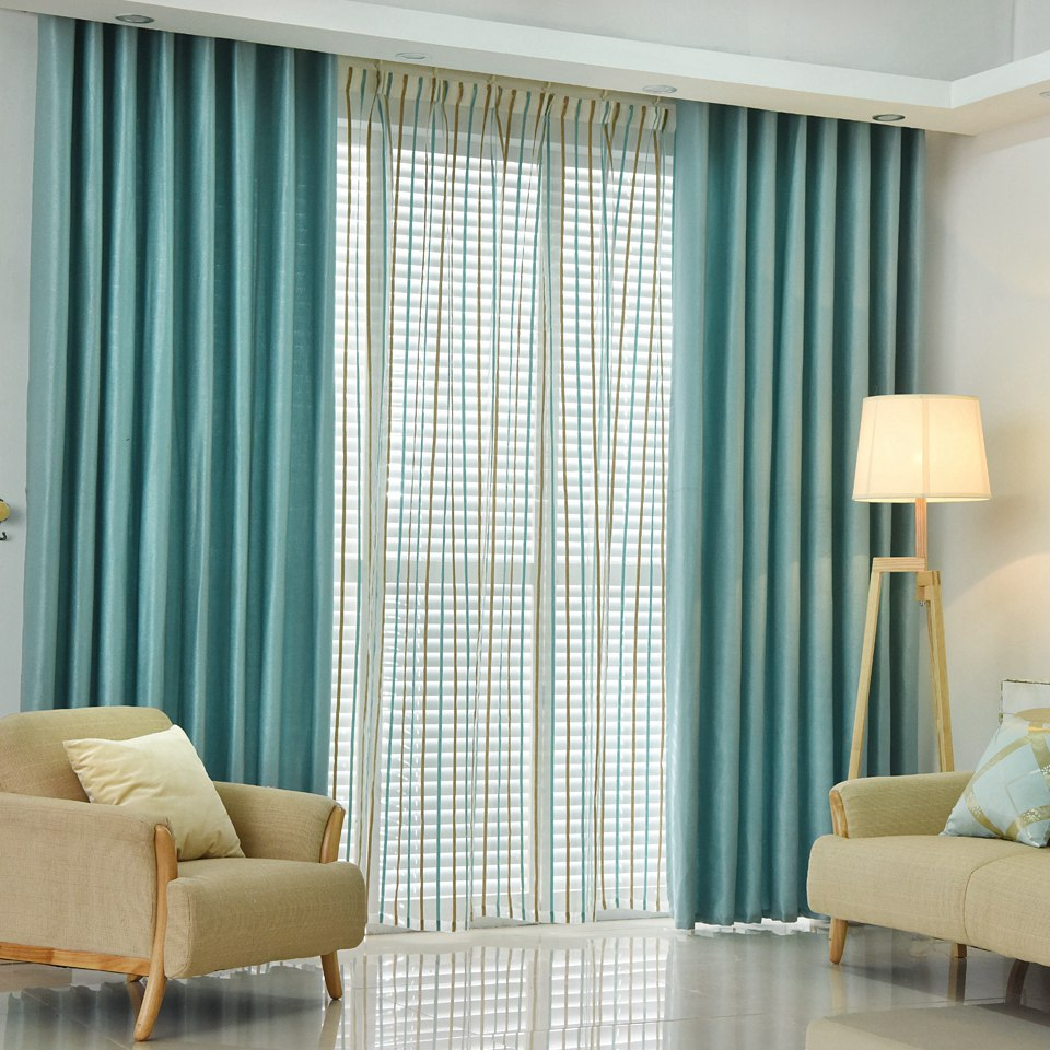 Plain dyed blackout curtain kitchen door window curtains for living ...