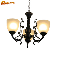 HGHomeart Continental Iron Lights Restaurant Chandelier Three Bedroom Lamp Living Room Ceiling Lights Minimalist Led Chandeliers
