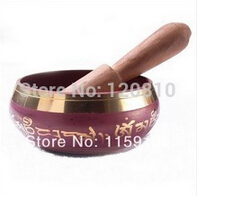 Free Shipping  320Tibetan Copper Crafted Gold Wonderful Chakra Singing Bowl Meditation 8cm