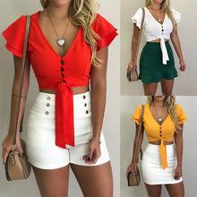 Women Cliffon Vest Short Sleeve Loose Casual V-Neck Tank Tops Blouse S-XL
