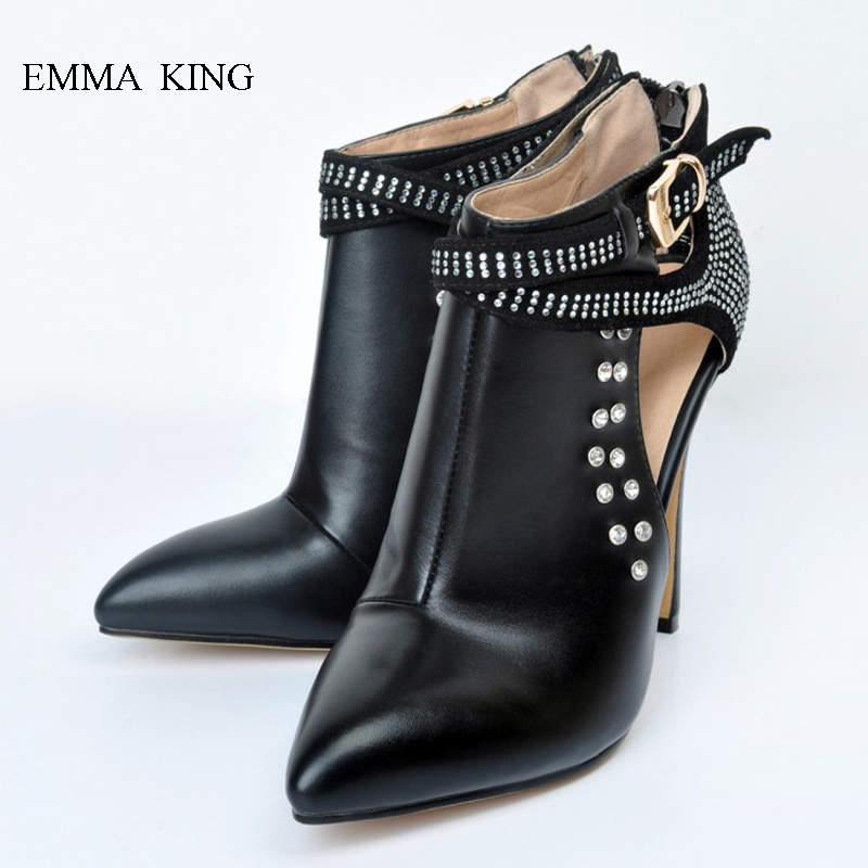 Sexy High Heels Crystal Pointed Toe Botine Femmes Chaussure Buckle Ankle Boots for Women Fashion Ladies Shoes For Party CatwalkSexy High Heels Crystal Pointed Toe Botine Femmes Chaussure Buckle Ankle Boots for Women Fashion Ladies Shoes For Party Catwalk