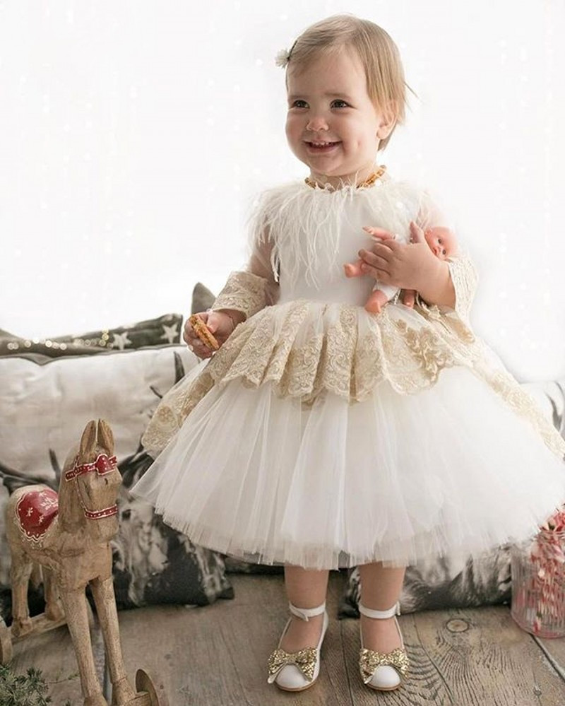 Здесь продается  Navy White High Quality Flower Girl Dresses Princess A Line Long Sleeve Kids Toddler Birthday Dress    Детские товары