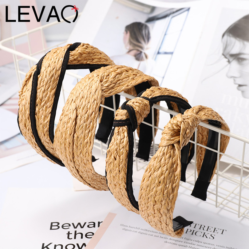 LEVAO Korean Hand Knitted Straw Woven Hoop Knotted Wide Size Hairbands Bezel Turban Women Headbands Girls Accessories   Headwear