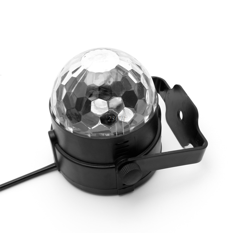 2017 NEW LED DJ Disco Party Magic Crystal Ball Stage Effect Light Voice Control RGB 3W MAY05_25 xl 10 voice remote control 24w 6 x led rgb crystal ball disco dj stage light black ac 90 270v