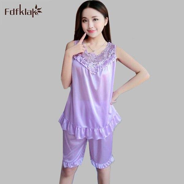 c8f5bd91a Ice Silk lace ladies nightwear pyjamas two-pieces pajamas sets casual  women s home suits soft sleepwear shorts pijamas A537