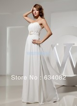 free shipping brides maid dress long 2013 maternity dresses sexy beading white sheer chiffon coral evening