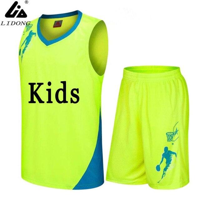 af60f164429ee Meninos/Crianças Conjuntos Uniformes de Basquete Jerseys kits personalizados  Criança roupas Esportivas Respirável esportes Da