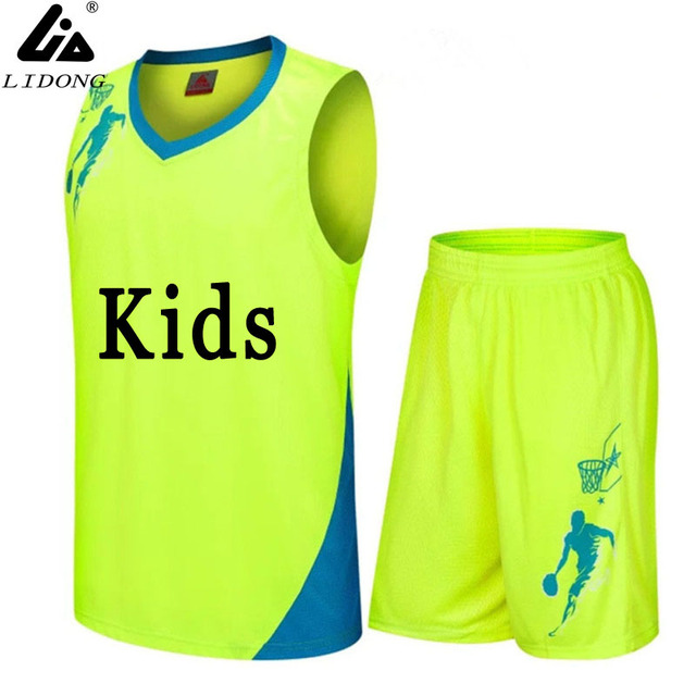 542ebf17c boys/Kids Basketball Jerseys Sets Uniforms kits custom Child Sports clothes  Breathable Youth sports running jersey shirts shorts