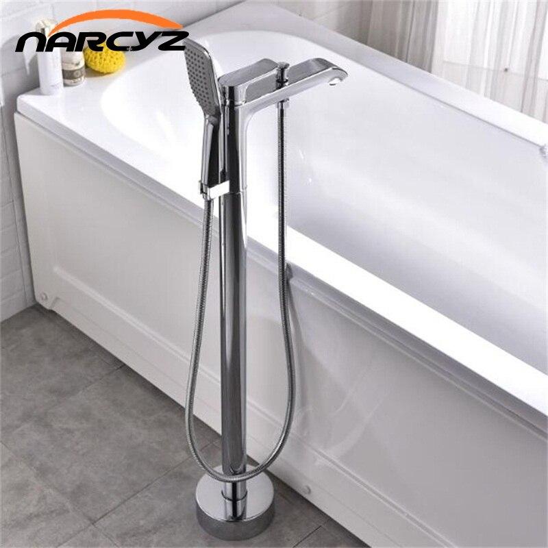 Смеситель Ванна Chrome с ручной душ Ванная комната ванна раковина смеситель свободностоящая поворотное Носик Душ смеситель XT377