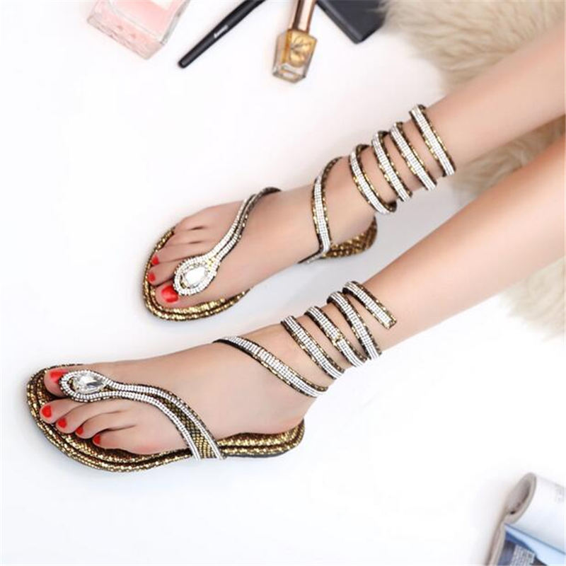 74f84db8960644 Brand Women Snake Ankle Strap Sandals 2016 Crystal Around Knee High Gladiator  Sandals Snake Flip Flat Summer Beach Shoes Zapatos-in Women s Sandals from  ...