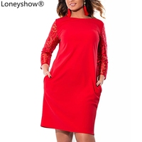 Loneyshow Plus Size L 6XL 2017 New Women S Lace Stitching Elegant Dress O Neck Knee