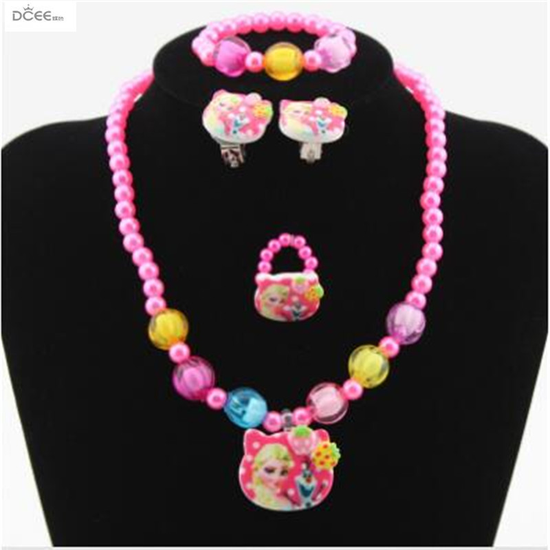 Four pieces of jewelry for girls,plastic ornaments with ice and snow,Children's Resin Necklace suit