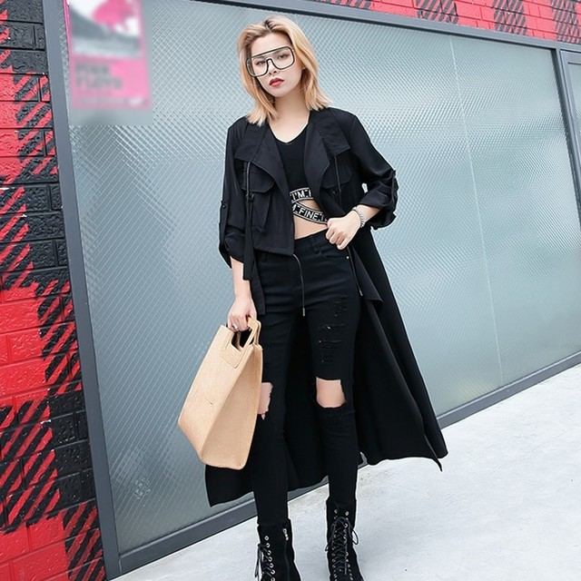 CHICEVER Autumn Trench Coat For Women's Windbreaker Lapel Long Sleeve Drawstring Trench Female Oversize Fashion Casual Clothing
