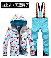 2017 New Hot Women S Ski Suit Female Snowboarding Set Women Skiwear Colorful Flower Printing Ski