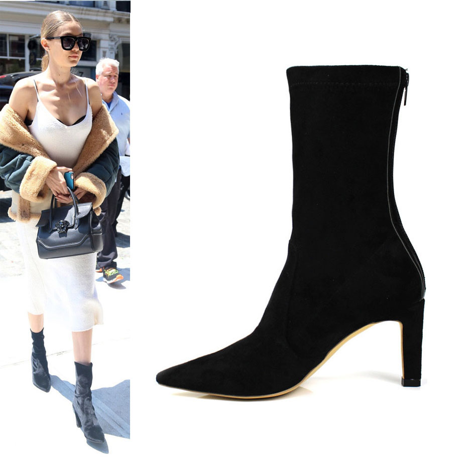 style suede ankle boots slim fit pointy high