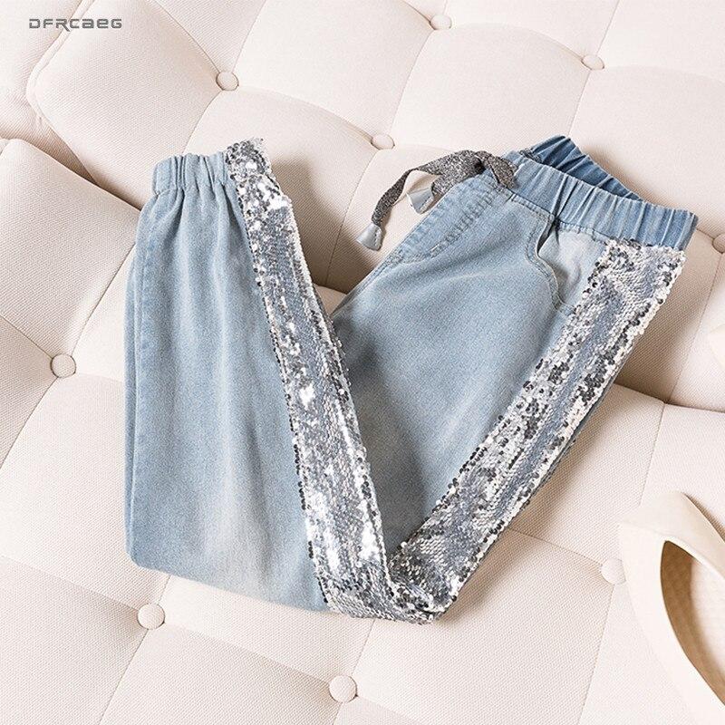 5XL Plus Size BF   Jeans   Woman Summer 2019 Elastic Waist Sequins Patchwork Denim Pants Streetwear Vintage Trousers   Jeans   Femme