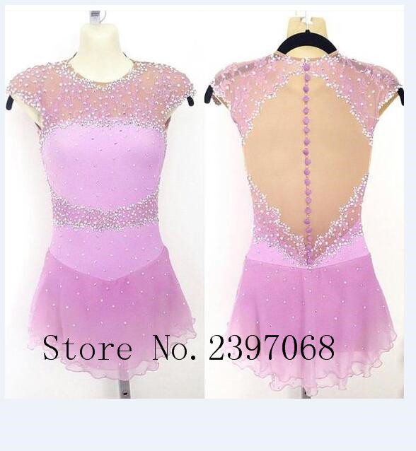 Ice Skating Dresses Girls Competition Figure Skating Dress Custom Crystals Pink Ice Skating Dresses Women Ice Clothes B25