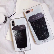 Dynamic Liquid Coffee Cup Quicksand Cover Phone Case For iPhone 6 6s 7 8 Plus Glitter black powder Cases X XS XR MAX