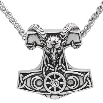 Viking Goat Thor'S Hammer Mjolnir with Rune Amulet Pendant Necklace  Viking Necklace