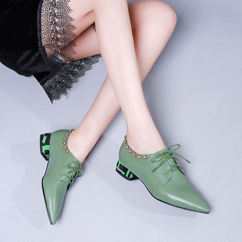 Allbitefo 고품질 천연 정품 가죽 여성 컬러 발 뒤꿈치 신발 지적 발가락 패션 레저 여자 낮은 뒤꿈치 신발 여자-에서여성용 펌프부터 신발 의  그룹 1