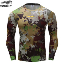 TUNSECHY Brand Camouflage T-shirt Bodybuilding Quick Dry New Fashion 3D Print Round Neck Long Sleeve Men T-shirt Free Shipping