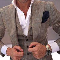 Grey plaid Men Slim Fit Groom Suits Two Buttons Notch Lapel Men Wedding Tuxedos Fashion Cloth For Men jacket +pant+vest